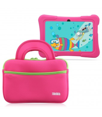 "TabSuit 7"" Dragon Touch Y88X Plus/Y88X/M7 Kids Tablet, KingPad K77 Tablet Ultra-Portable Neoprene Zipper Carrying Sleeve Case Bag with Accessory Pocket- Pink"