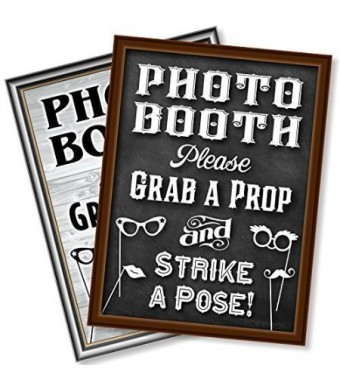 "Bigtime Designs 16"" x 12"" Photo Booth Prop Sign ?2-Sided Design?. Chalkboard Style on 1 Side and a Rustic Vintag"