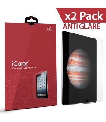 Apple 12.9-inch iPad Pro Screen Protector , iCarez [HD Anti Glare] [ Unique Hinge Install Method With Kits ] Easy Install with Lifetime Replacement Warranty [2-Pack] - Retail Packaging