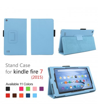 Case for Fire 7 2015 - Folio Case with Stand for Kindle Fire 7 (5th Generation, Sept 2015 Model) - Light Blue