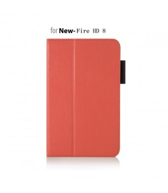 """Case for Fire HD 8 - Elsse Premium Folio Case with Stand for the Fire HD 8, 8"""" Display (2016 and 2015 Release) - Orange"""