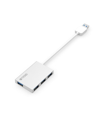 """Slimmest USB Hub, TROND D2 Ultra Slim Aluminum USB 3.0 Hub (4 Port Compact, Bus-Powered, 4.5"""" USB Cable, Silver), Ideal for Laptops, Ultrabooks, MacBooks and Microsoft Surface (Windows 10 Compatible)"""