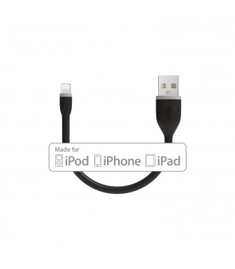 Satechi Flexible Lightning to USB Cable - 6 Inches (15 Centimeters) - Black - Apple MFI Certified