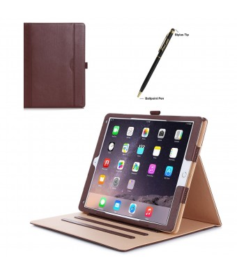 Apple iPad Pro Case - ProCase Leather Stand Folio Case Cover for 2015 Apple iPad Pro 12.9 inch, with Multiple Viewing angles, auto Sleep/Wake, Document Card Pocket (Brown)