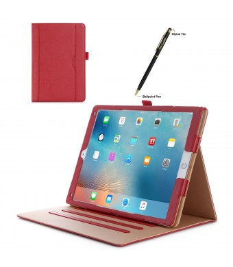 Apple iPad Pro Case - ProCase Leather Stand Folio Case Cover for 2015 Apple iPad Pro 12.9 inch, with Multiple Viewing angles, auto Sleep/Wake, Document Card Pocket (Red)
