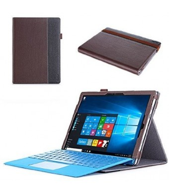 "Microsoft Surface Pro 4 Case - ProCase Premium Folio Cover Case for Surface Pro 4 (12.3""), Compatible with Surface Pro 4 Type Cover Keyboard, Built-in Stand with Multiple viewing Angles (Brown)"