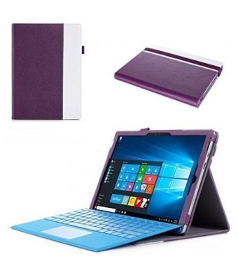 """Microsoft Surface Pro 4 Case - ProCase Premium Folio Cover Case for Surface Pro 4 (12.3""""), Compatible with Surface Pro 4 Type Cover Keyboard, Built-in Stand with Multiple viewing Angles (Purple)"""