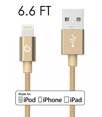 Volts 6.6-Ft Nylon Braided Lightning to USB Cable - Gold [Apple MFi Certified]