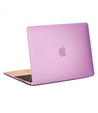 """Unik Case-Retina 12 Inch Frosted Coating Rubberized Hard Case for Macbook 12"""" with Retina Display A1534 Shell Cover(2015 Newest Version)-Purple"""