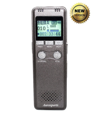 Aurosports 8GB Digital Voice Recorder and MP3 Music Player - 280 Hours Recording Capacity, Rechargeable, Built-in Speaker and LCD Display