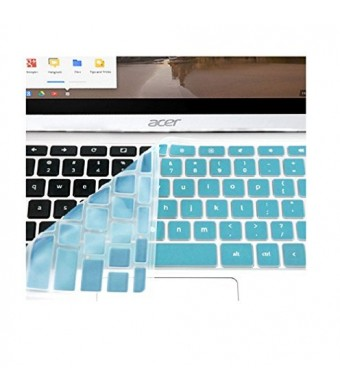 """Keyboard Cover For Acer Chromebook Cb3 111   11.6 """" Cb3-111 C670 C8ub C720 C720P (Us Layout) Top Quality Silicon Chromebook Accessories (Not fit Acer CB3-131) - Turquoise Blue by Casiii"""
