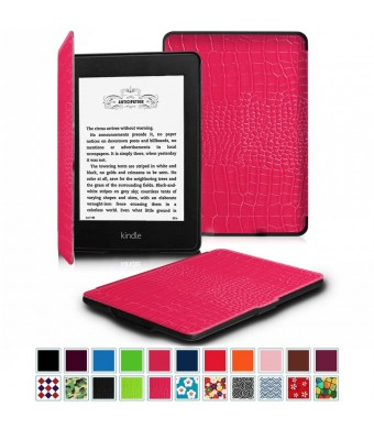 Fintie SmartShell Case for Kindle Paperwhite - The Thinnest and Lightest Leather Cover for All-New Amazon Kindle Paperwhite (Fits All versions: 2012, 2013, 2014 and 2015 New 300 PPI), Crocodile Pink