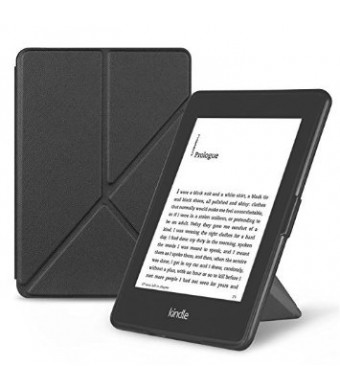 OMOTON Kindle Paperwhite Case Cover -- Origami Stand Folio Style PU Leather Smart Cover for All-New Kindle Paperwhite (Fits Versions: 2012, 2013, 2014 and 2015 All-new 300 PPI Versions), Classic Black