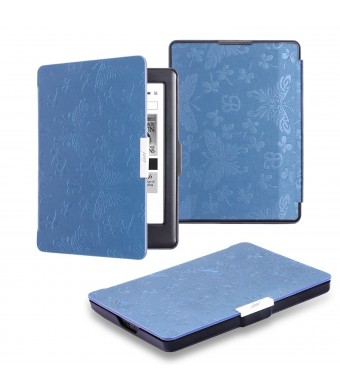 KOBO GLO HD Case, icci KOBO GLO HD Sleep Cover [Premium Butterfly] [Smart] Leather Case [Best] Auto Sleep Wake Up Sleeve [Standby] For KOBO GLO HD and KOBO GLO - Dark Blue