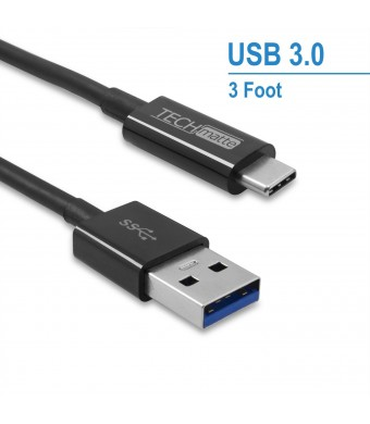 USB Type C Cable (3FT), TechMatte USB 3.0 Type C to Type A (USB-C to USB) Cable for OnePlus 3, HTC 10, Nexus 5X, 6P, LG G5 (3 Feet, Black)