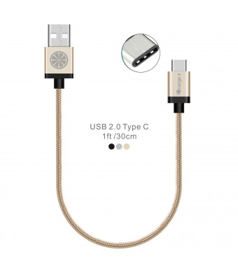 USB C to USB, iOrange-E Type C 1ft Braided Cable with Aluminum Connector for 2015 Macbook 12'', LG G5, OnePlus 2, Nexus 6P, 5X, Lumia 950, Nokia N1 Tablet, Nextbit Robin and Other USB C Devices, Gold