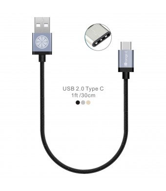 Type C, iOrange-E 1ft USB C To USB Braided Cable for 2015 New Macbook 12'', ChromeBook Pixel, OnePlus 2, Nexus 6P, 5X, Lumia 950, 950XL, Nokia N1 Tablet and Other USB C Devices, Black