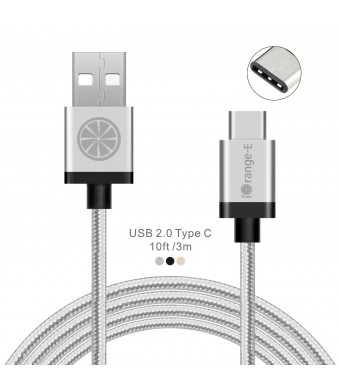 USB Type C, USB C to USB A iOrange-E 10ft(3M) Braided Cable for 2015 New Macbook 12'', LG G5, ChromeBook Pixel, OnePlus 2, Nexus 6P, 5X, Lumia 950, Nokia N1 Tablet and Other Type C Devices, Silver