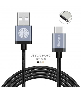 Type C, USB C to USB A iOrange-E 10ft (3M) Braided Cable for 2015 New Macbook 12'', LG G5, ChromeBook Pixel, OnePlus 2, Nexus 6P, 5X, Lumia 950, 950XL, Nokia N1 Tablet and Other USB C Devices, Black