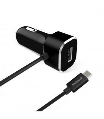 USB Type C Car charger, Nekteck 5.4A USB-C Car Charger Adapter with Integrated Built-in Type-C 3.1 Cord for Macbook 12 Inch, Google Pixel/ Pixel XL Nexus 5X 6P and More, Black - Straight Cable