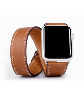 eLander 3963135 Apple Watch Band, eLander; Luxury Genuine Leather strap Bracelet Replacement Wrist Band With Adapter Clasp for iWatch Apple and Sport and Edition- Double tour – Brown – 38mm