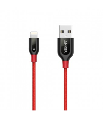 Anker PowerLine+ Lightning Cable (1ft) Durable and Fast Charging Cable [Double Braided Nylon] for iPhone, iPad and More (Red)