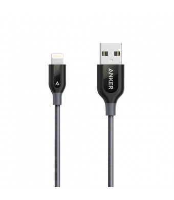 Anker PowerLine+ Lightning Cable (1ft) Durable and Fast Charging Cable [Double Braided Nylon] for iPhone, iPad and More (Gray)