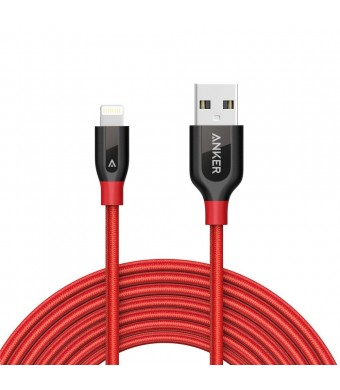 Anker PowerLine+ Lightning Cable (10ft) Durable and Fast Charging Cable [Double Braided Nylon] for iPhone, iPad and More (Red)