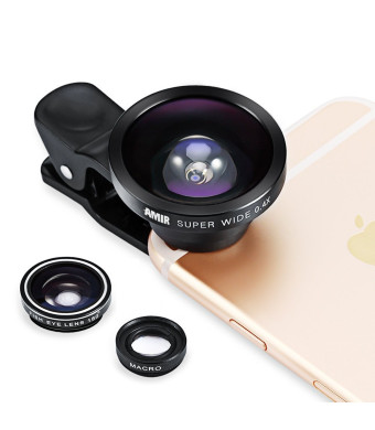 Amir 3 in 1 Fisheye Lens Plus Macro Lens Plus 0.4x Super Wide Angle Lens, Clip on Cell Phone Lens Camera Lens Kits for Iphone 6s, 6, 5s, Galaxy and Most Smartphones