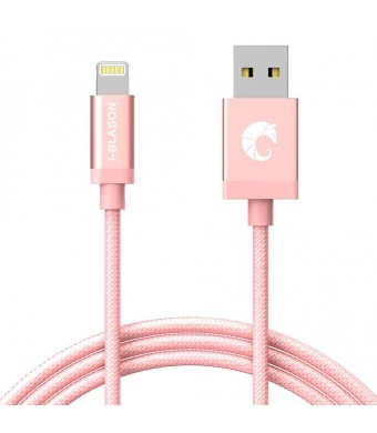 [Apple MFi Certified] i-Blason Lightning to USB Cable [Heavy Duty] 3ft / 0.9m for iPhone 6s /6 /5s / 5c / 5 / Plus / + iPad Air / Air 2 / mini / mini with Retina Display /3 /4, iPad 4 (Rose Gold)
