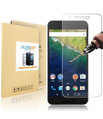 Nexus 6P Screen Protector [Cutout for Proximity Sensor], PLESON Huawei Nexus 6P Tempered Glass Screen Protector 2015, 2.5D Ultra Clear 9H Bubble Free Screen Protector for Nexus 6P - Lifetime Warranty