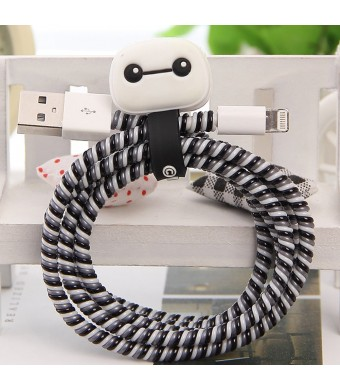 [3 In 1 Multi-Colored] Tospania DIY Spiral Wire Protectors for Apple Lightning Cables/Samsung and other Tablet Charging Cables (Baymax)