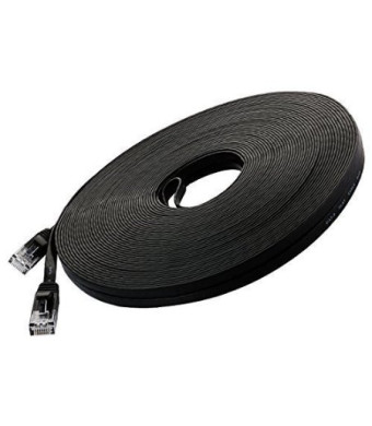CableMaster Corporation Cat 6 Ethernet Cable Black 100ft (At a Cat5e Price but Higher Bandwidth) Flat Internet Network Cab