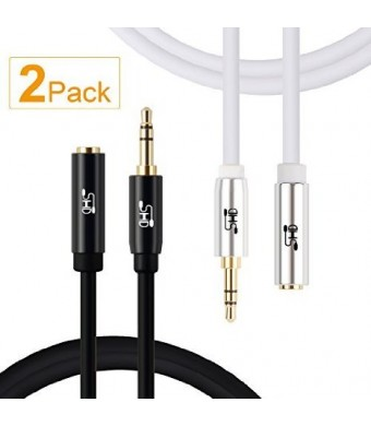 Super High-Definition Super HD 3.5mm Aux Stereo Audio Extension Cable Slim Male to Female Type 24K Gold Plated Step Down