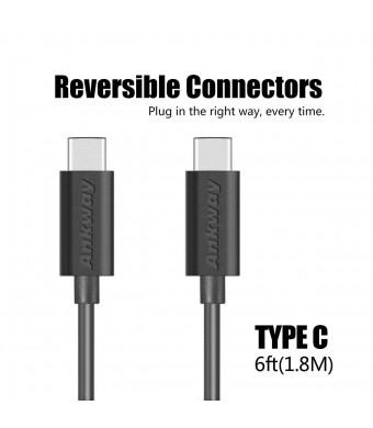 USB C Cable 6FT/1.8M - Ankway USB Type C to C Cable for Lumia 950, Nexus 5x, Macbook, Chromebook Pixe, Nexus 6p, Lumia 950XL, Oneplus 2 and and Other Devices with Type C USB(Black)