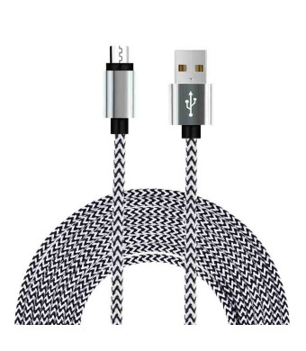 UNISAME™ 10Ft Premium Tangle Free Bold Hybrid Braided [Aluminum] Micro USB Charging Sync Data Cable Charger Cord for Galaxy S7 S6 Edge S4 Note 4 5 Tab, Moto G X, HTC and more Android Devices