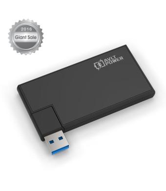 AVLT-Power 4-Port Ultra-Slim Rotatable USB 3.0 Hub - Black (AVLT-HB05)