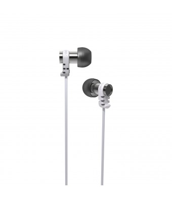 Brainwavz Omega In Ear Earbuds Noise Isolating Earphones Remote and Mic Headset Stereo Headphones Apple iPhone and Android (White)
