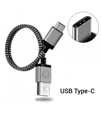 Type C Cable, Cambond 1ft Short Braided Reversible USB C Cable for LG G5, Nexus 6P, 5X, OnePlus Two, New Macbook 12 inch, Google ChromeBook Pixel, Lumia 950 / 950XL, Pixel C, More Gray