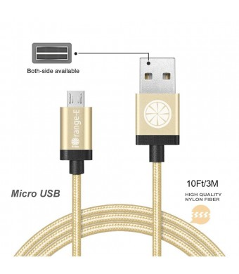 USB Cable, iOrange-E 10ft (3M) Micro USB to USB Cable Braided, Quick Charge and High Speed Data Sync for Android, Samsung, HTC, Motorola, Nokia and More, Gold