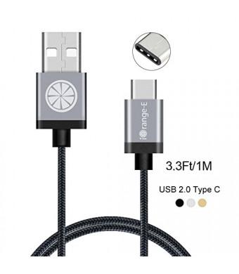Type C, iOrange-E USB C to USB 3.3Ft Braided Cable for Apple Macbook 12'', ChromeBook Pixel, OnePlus 2, Nexus 6P, 5X, LG G5, Lumia 950, 950XL, Nokia N1 and More USB C Devices, Black