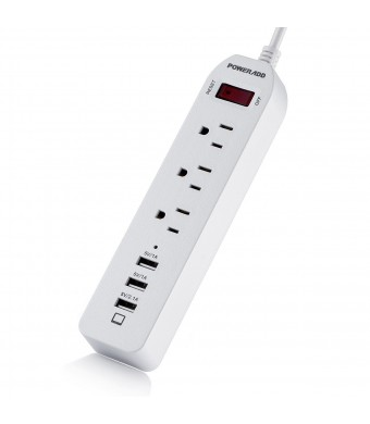 Poweradd 3-Outlet Power Strip 5ft Extension Cord with 3 Smart USB Ports for iPhone 4s/5s/6s/7/Plus, Samsung Galaxy Note 3/4/5, HTC and More
