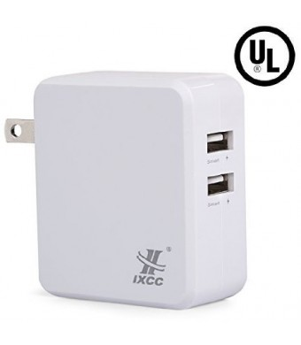 [UL Certified] iXCC 4.8A 24W Full-Speed Dual USB Ports Universal Wall Charger for iPhone / iPad, Samsung Galaxy or Other Smartphone and Tablet - White
