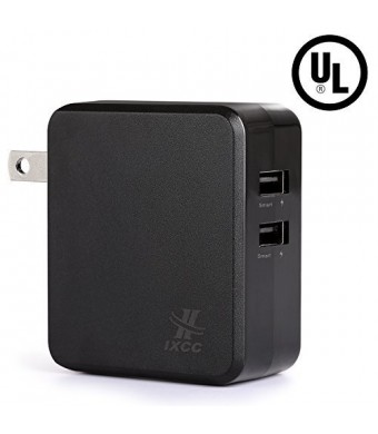 [UL Certified] iXCC 4.8A 24W Full-Speed Dual USB Ports Universal Wall Charger for iPhone / iPad, Samsung Galaxy or Other Smartphone and Tablet - Black