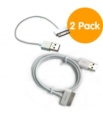 """[Apple Certified] HomeSpot Sync and Charge 30 pin to USB Cable Value Pack – 8""""(20cm) and 3.3ft(1M) Short and Long Charging Cable for iPhone, iPad, iPod touch – [2 Pack White]"""