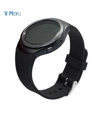 V-Moro Accessories Silicone Bands For Samsung Galaxy Gear S2 Smart Watch SM-R720 / R730 Black Large Small 5.1 - 7.6 inches