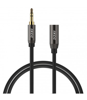 3.5mm Extension Cable, iXCC 3ft 3.5mm Male to Female Gold-Plated Corrosion-Resistant Universal Audio Stereo Extension Cable for Smartphone/Tablet/Speaker and More Devices