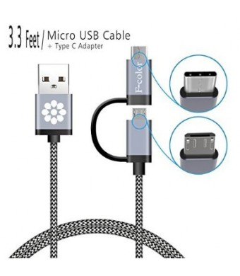 F-color Micro USB Cable, 3.3 Ft Reversible Type C Male to Micro USB Female Adapter Converter Connector, F-