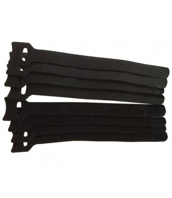Attmu Microfiber Cloth 6-Inch Hook and Loop Reusable Fastening Velcro Cable Ties, Set of 100, Black