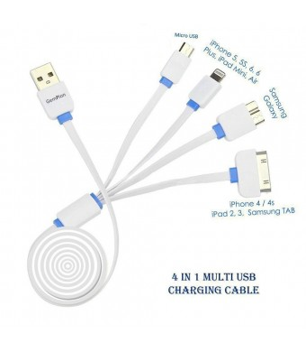 Multi Charging Cable, Gempion 3ft 4 in 1 USB Charger Connector for iPhone 6s, 6 Plus, 5S, Micro USB for Samsung Galaxy S6 S5 S4 Note 3 Power Bank Portable Charger and More (White and Blue)